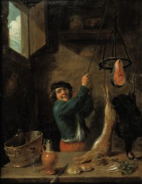 A kitchen interior with a peasant holding a hare, a partridge and a fillet of salmon by a rope