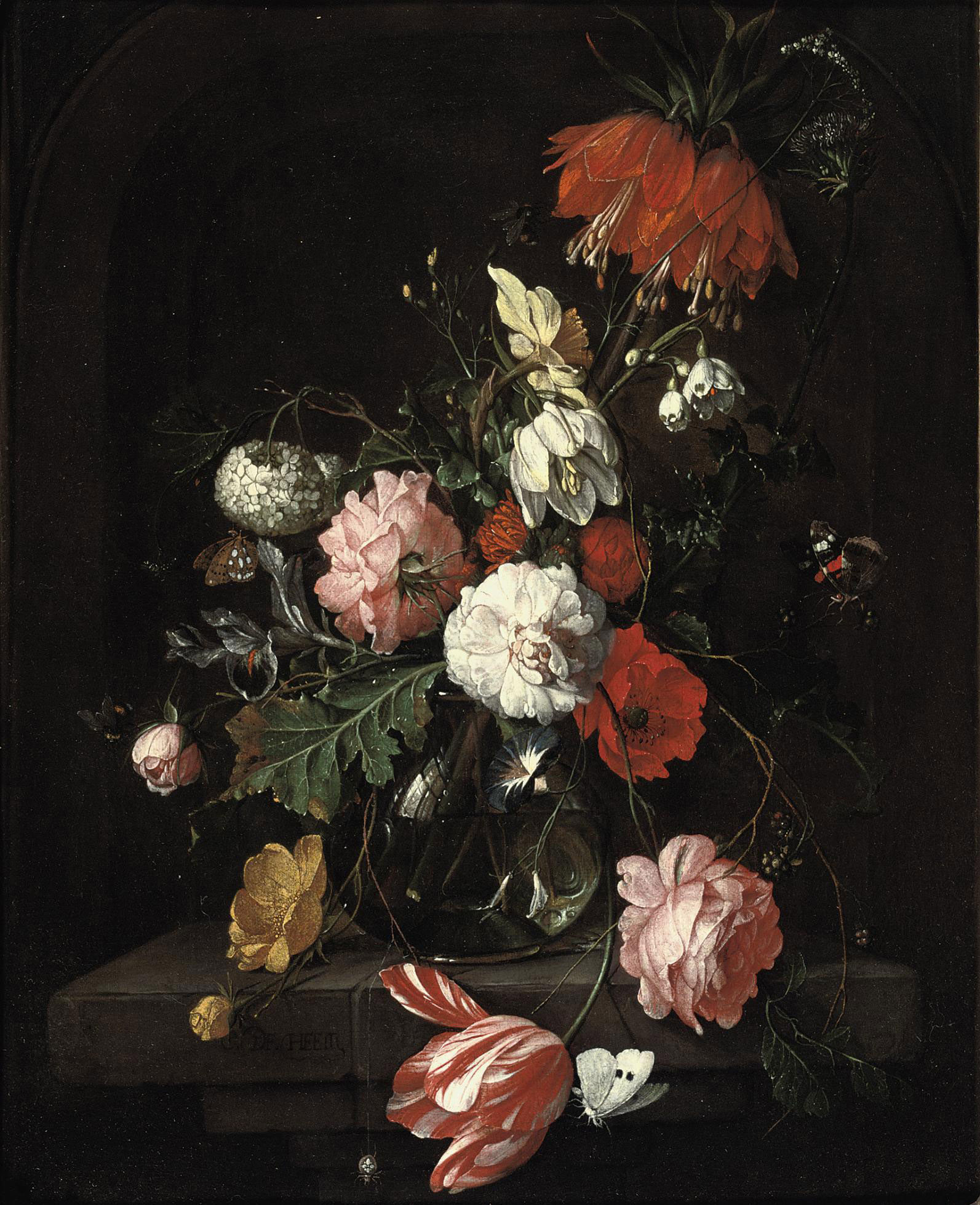 A tulip, pink roses, a crown imperial lily and other flowers in a glass vase, all on a stone ledge, surrounded by butterflies