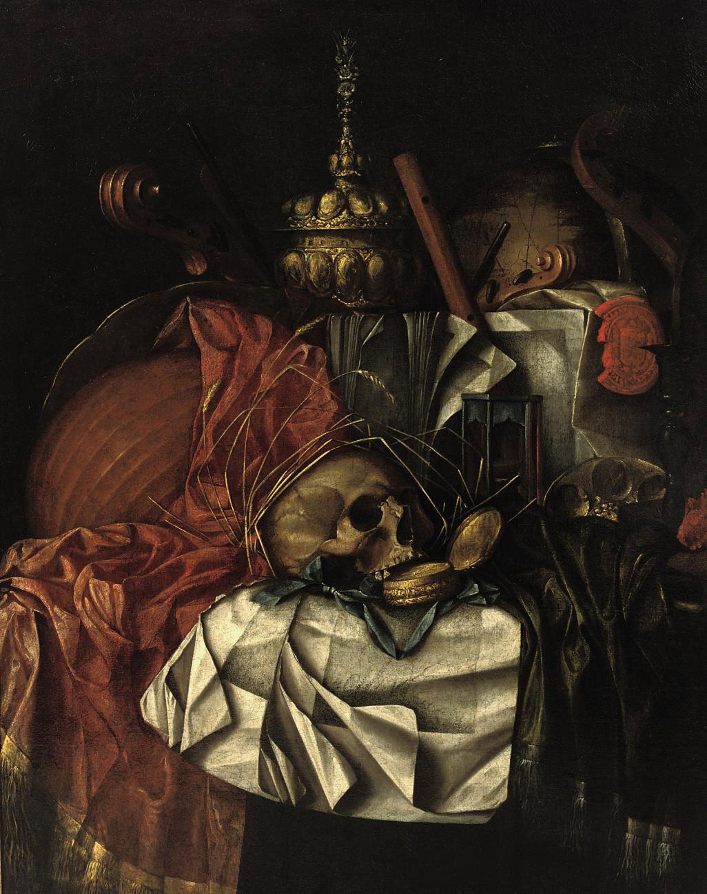 A skull, a gold pocket watch, an hour glass, a globe, musical instruments, a gold 'tazza' and an open book on a partially draped table: a 'Vanitas'