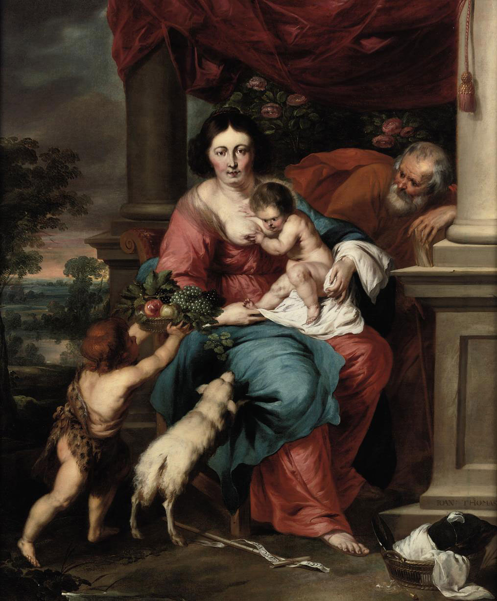The Holy Family and the Infant St John holding a basket of fruit