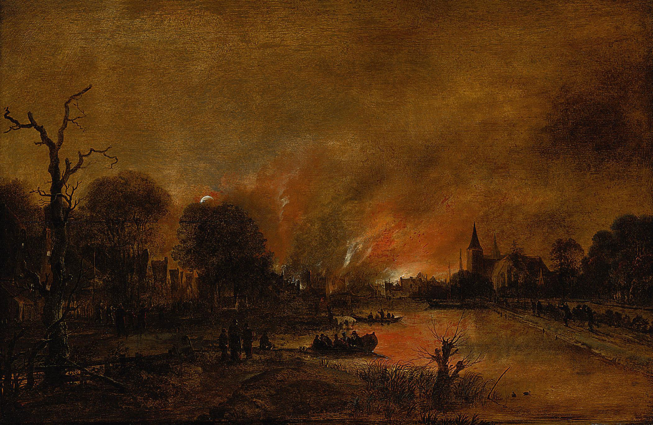 A moonlit river landscape with figures quenching a fire in a town beyond