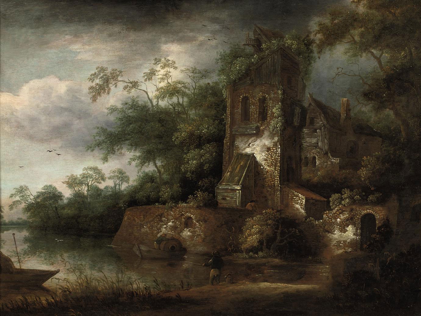 A wooded river landscape with fishermen near a ruined tower
