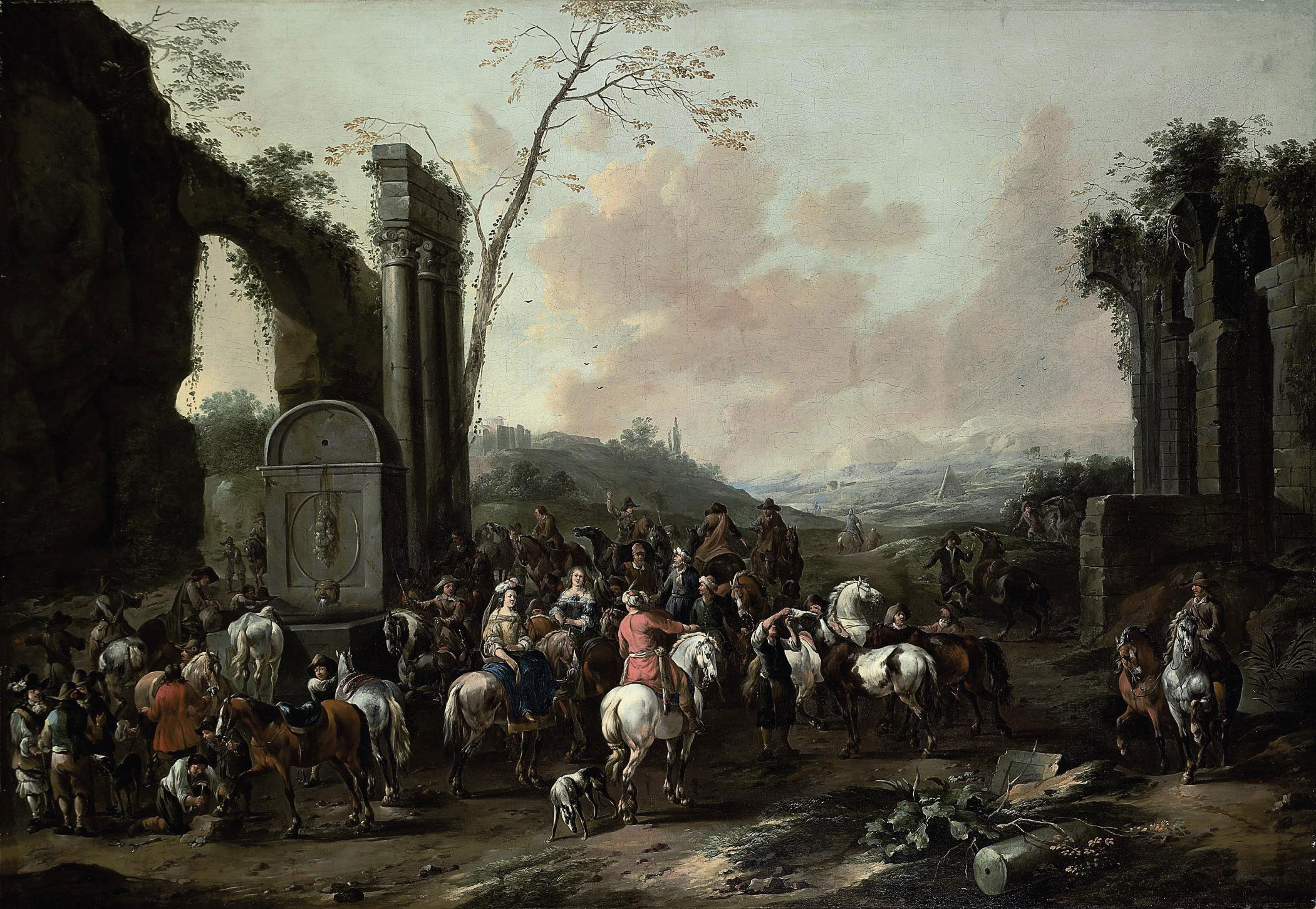 An Italianate landscape with travellers gathering by a fountain amongst classical ruins