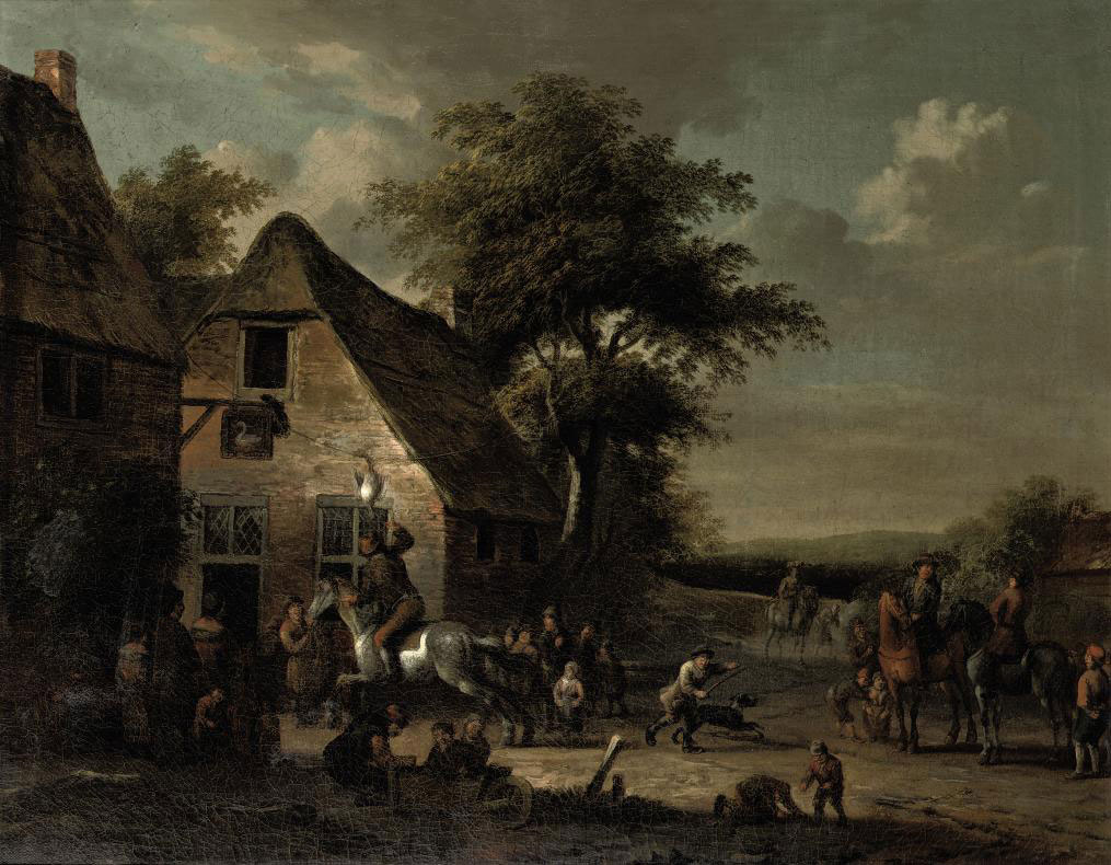 A town view with figures conversing and playing the game of 'gaasgouwe'