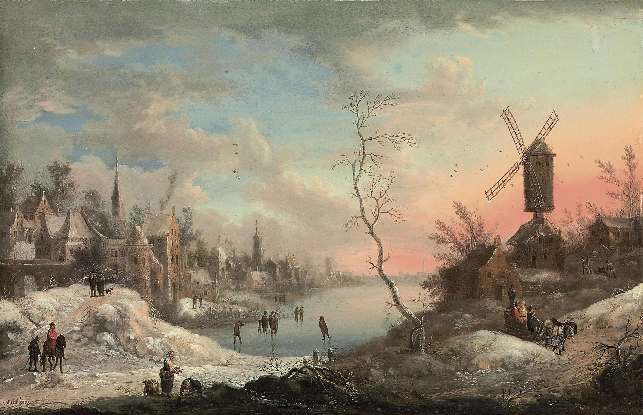A winter landscape with skaters on a frozen lake near a town, a windmill nearby