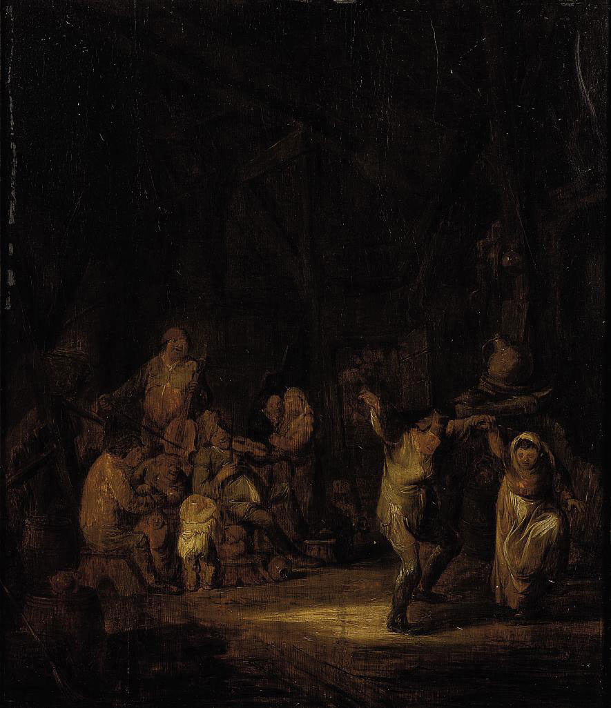 A barn interior with boors dancing and making music