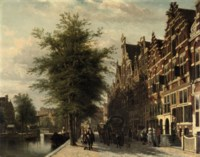 View of the Singel in summer with the Mennonite Church 'Het Lam', Amsterdam