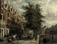 Gezicht op den Leidschegracht naar de Heerengracht te Amsterdam omstreeks het jaar 1670: Amsterdam in summer