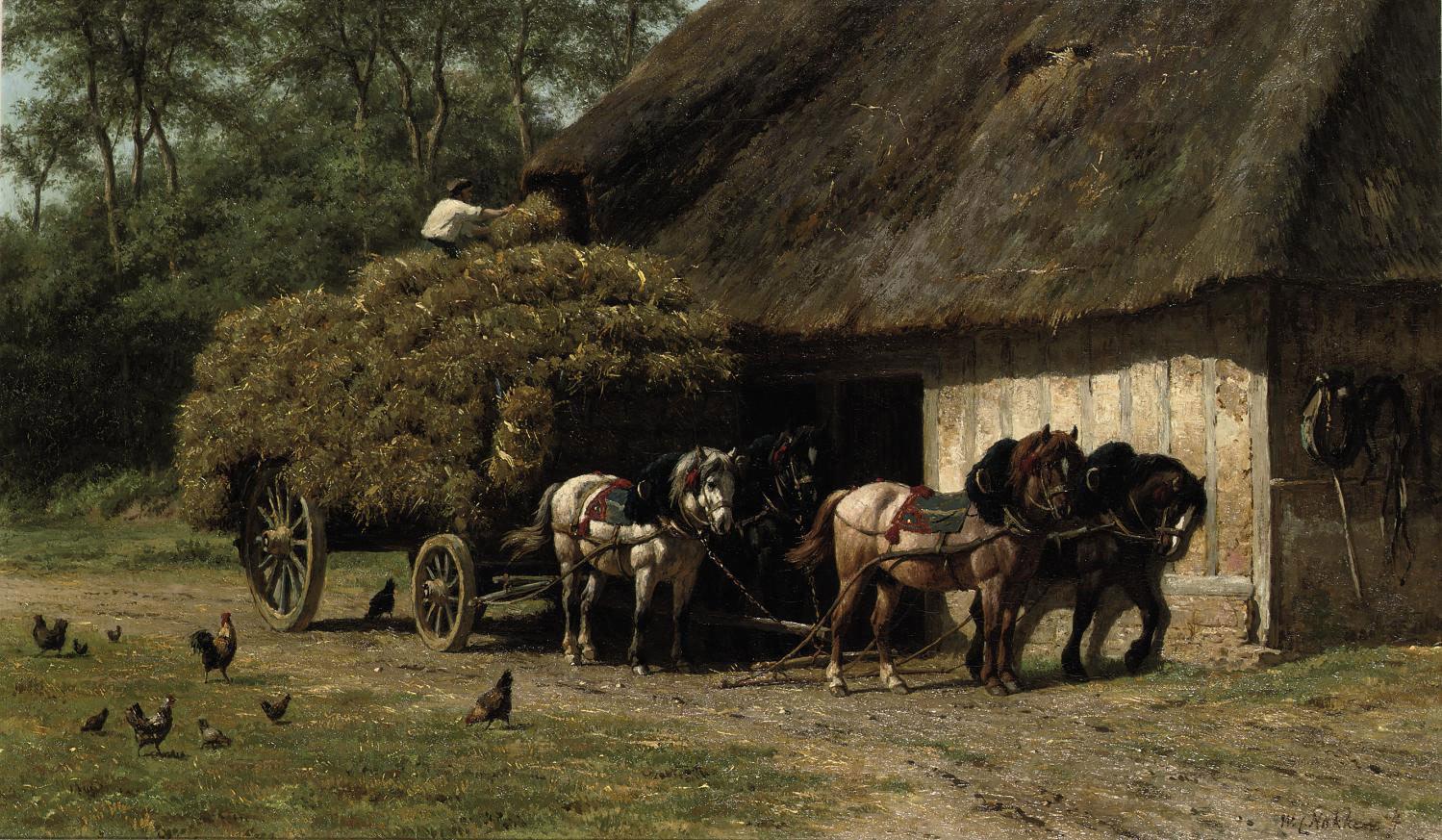 Unloading the haycart