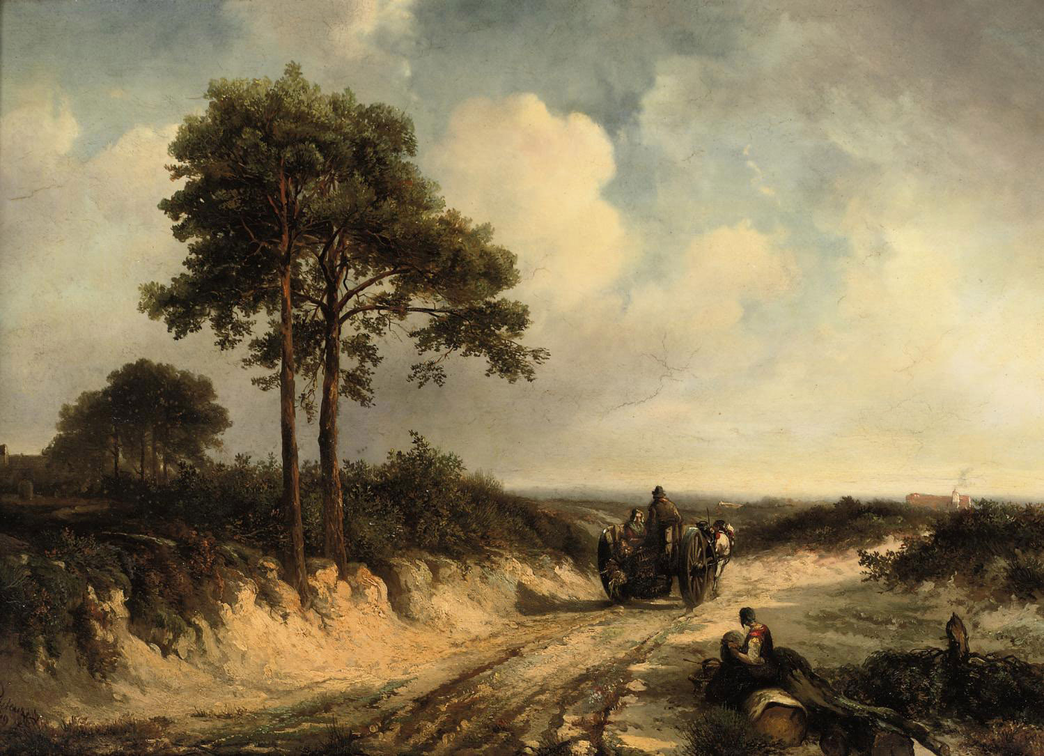 A horse drawn cart along a dusty road