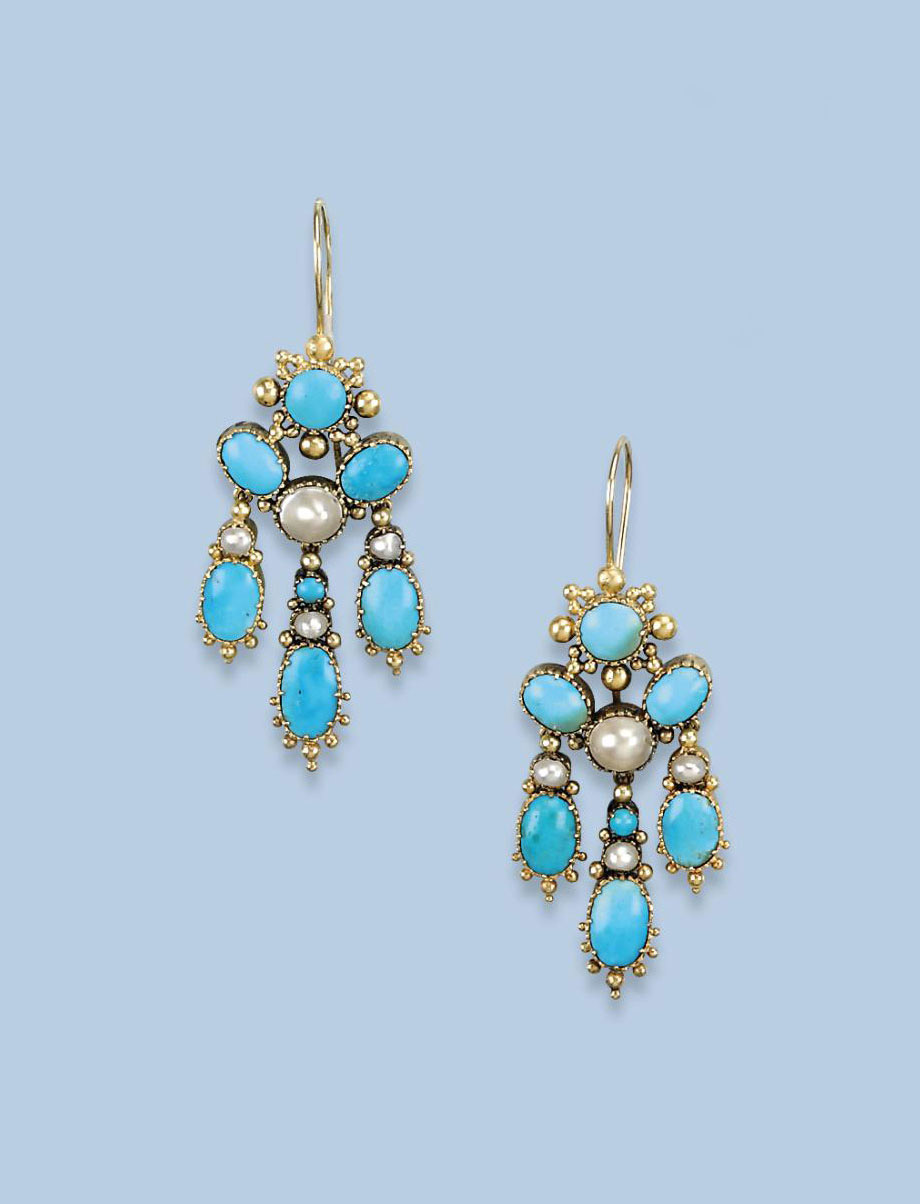 A PAIR OF ANTIQUE TURQUOISE AN