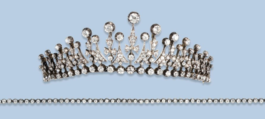 AN ANTIQUE DIAMOND TIARA/NECKL