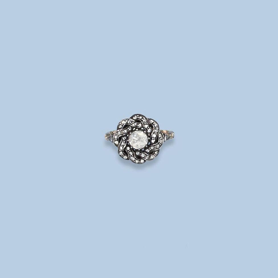 A ROSE-CUT DIAMOND RING