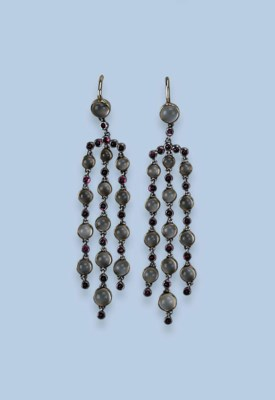A PAIR OF RUBY AND MOONSTONE E