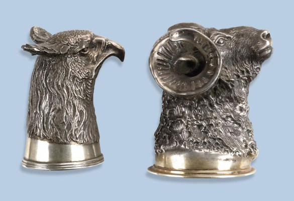 A PAIR OF RUSSIAN SILVER STIRR