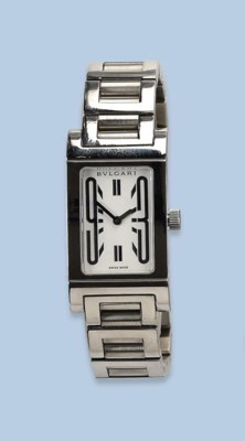 A LADY'S STAINLESS STEEL RECTA