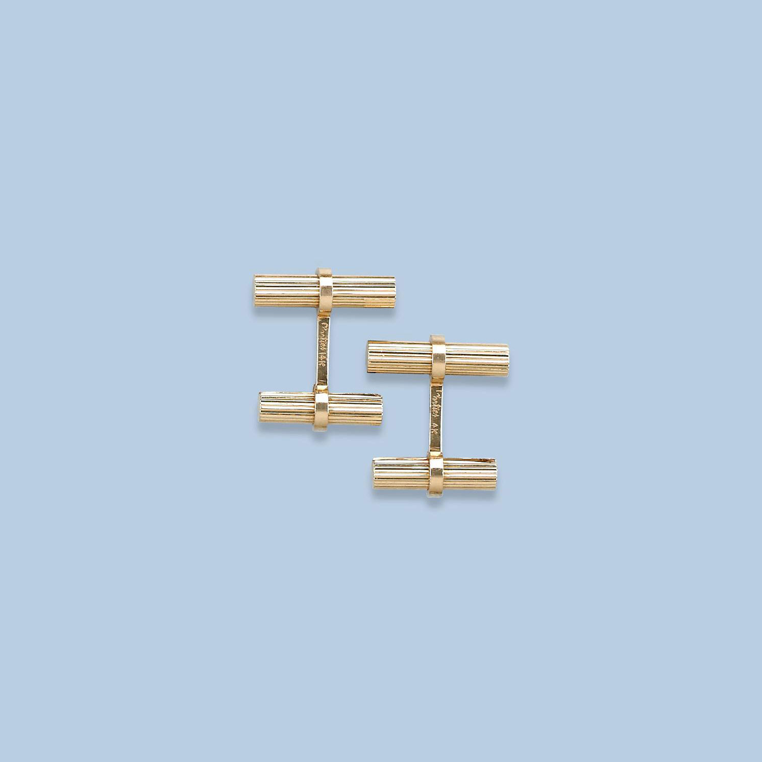 A PAIR OF GOLD CUFF LINKS, BY