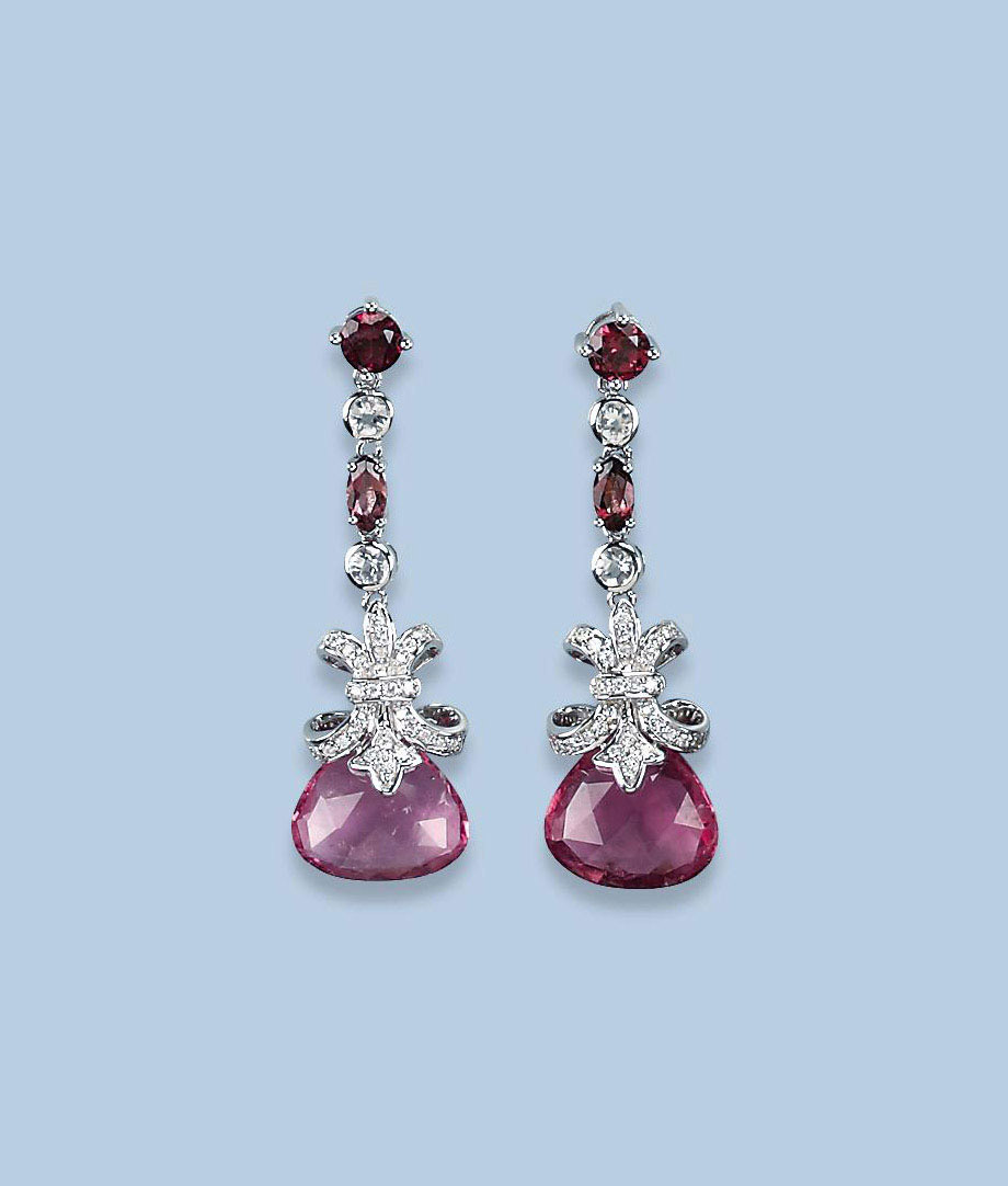 A PAIR OF RUBELLITE AND DIAMON
