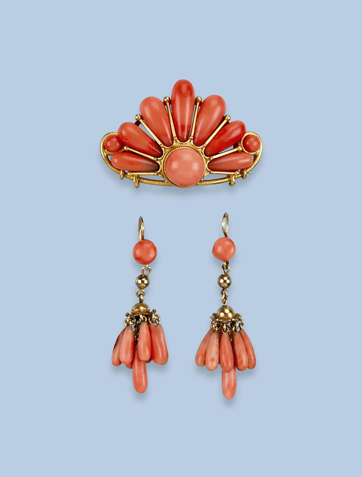 A PAIR OF ANTIQUE CORAL EARRIN