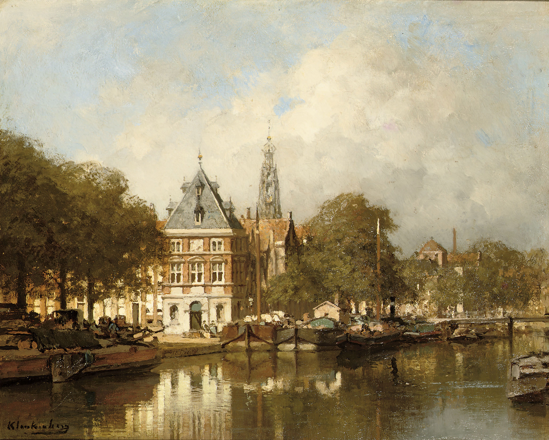 De Waag aan het Spaarne te Haarlem: View of the river Spaarne with the Bakenessertoren beyond, Haarlem