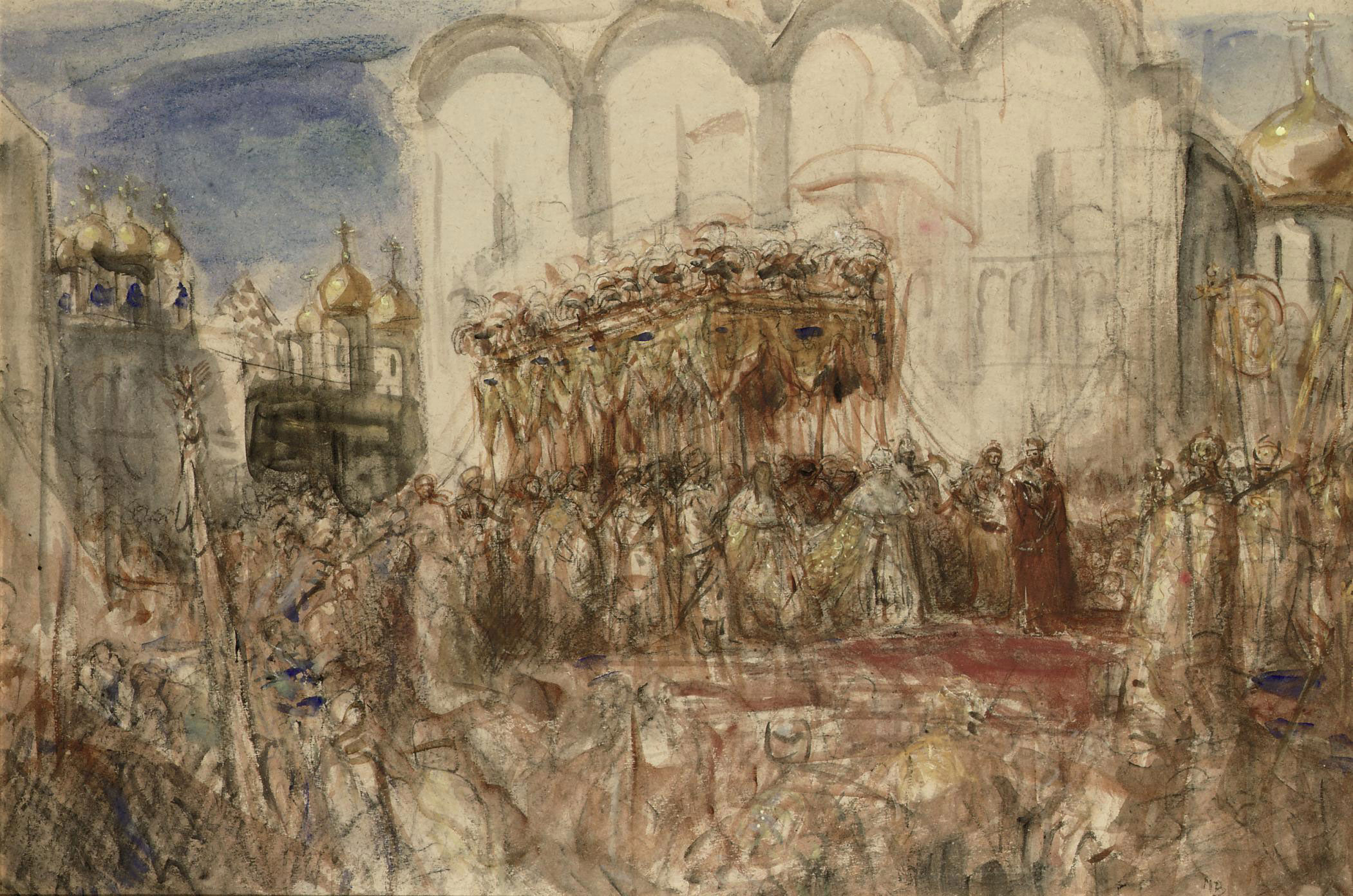 Kroning Czaar: czar Nicolaas II after the crowning in 1896, Moskou