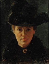 Portrait of a lady with a feathered hat