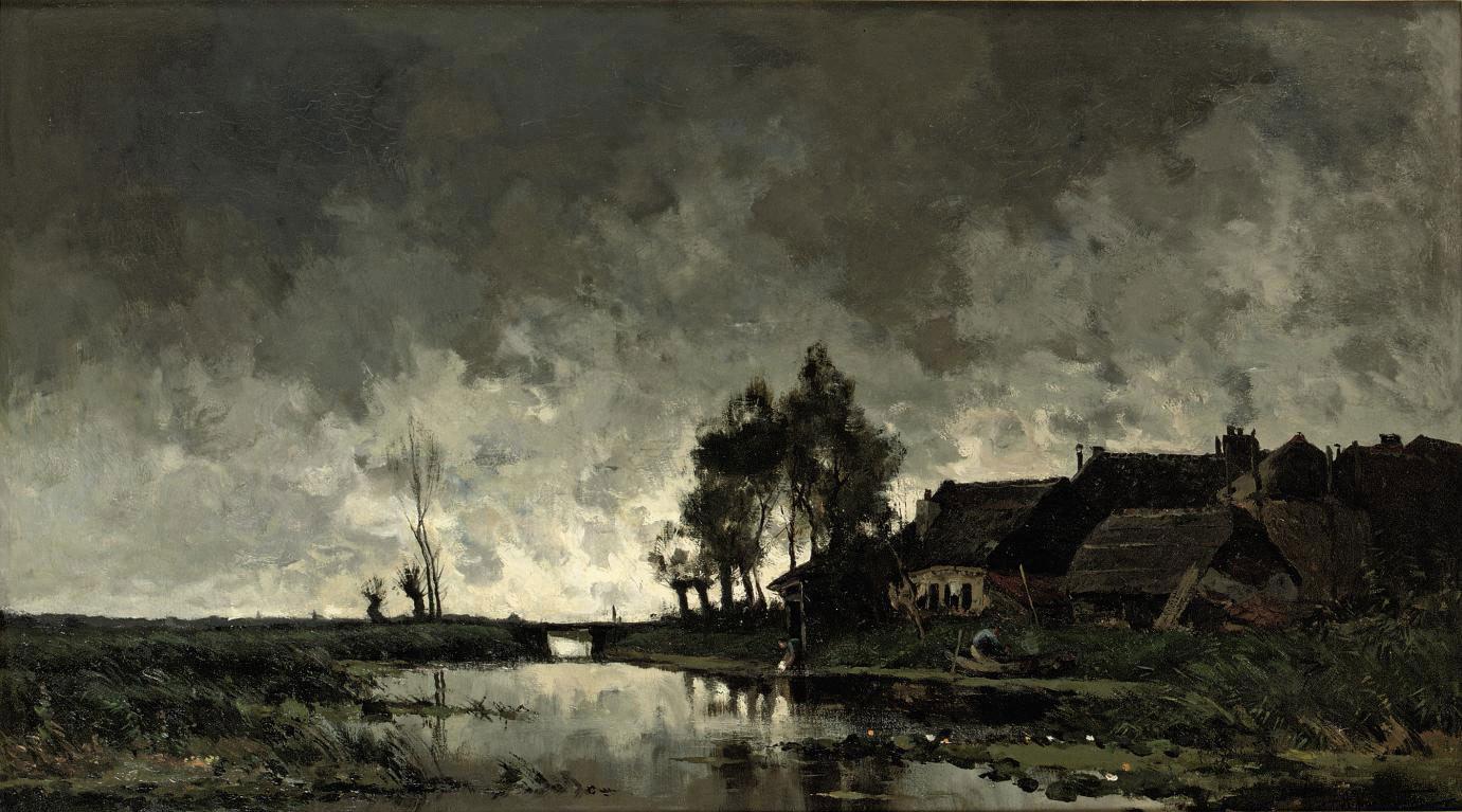 A farmhouse near a river