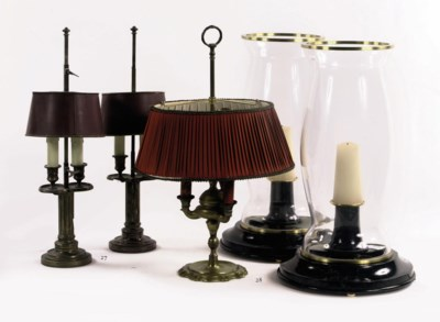A PAIR OF PLATED LAMPE BOUILLO