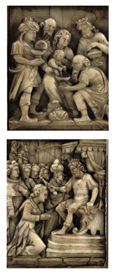TWO CARVED ALABASTER RELIEFS