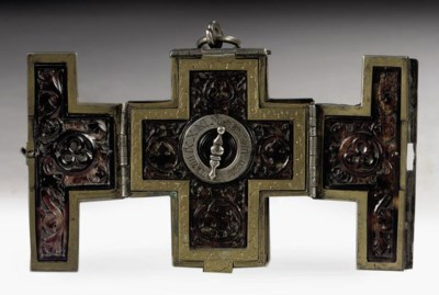 A SILVER-MOUNTED, BRASS AND TO
