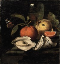 An orange, a quince, an oyster, a partly rolled-up leaflet, a wine glass, a red Admiral butterfly and a fly, all on a marble ledge
