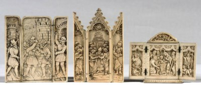 A CARVED IVORY TRIPTYCH DEPICT