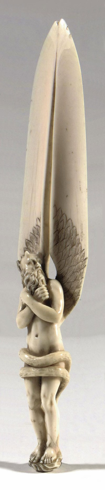 A CARVED IVORY PAPER KNIFE