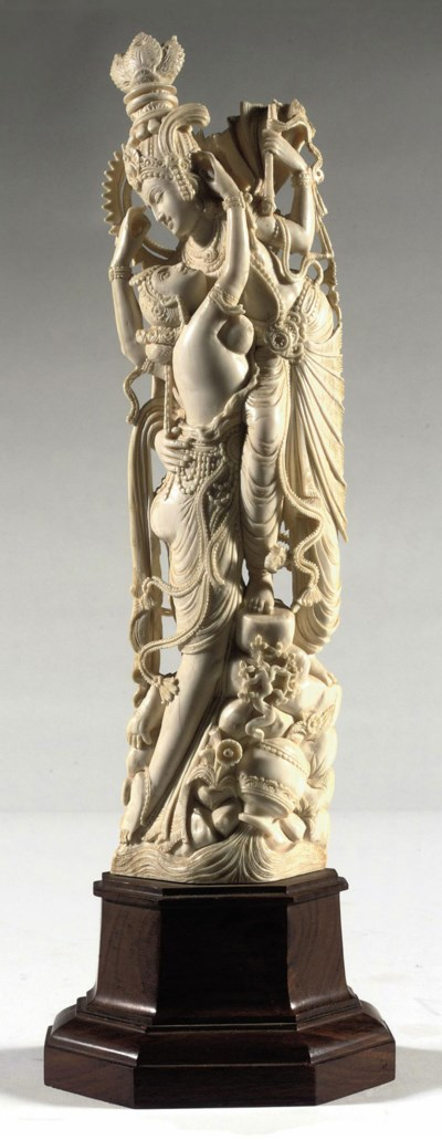 AN INDIAN EROTIC IVORY CARVING