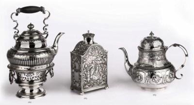 A Dutch silver teapot and a Du