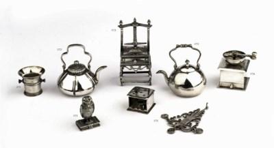 Two Dutch silver miniature tea