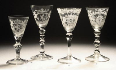 TWO DUTCH ENGRAVED GOBLETS DEP