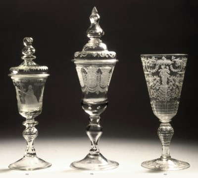A DUTCH ENGRAVED GOBLET AND CO