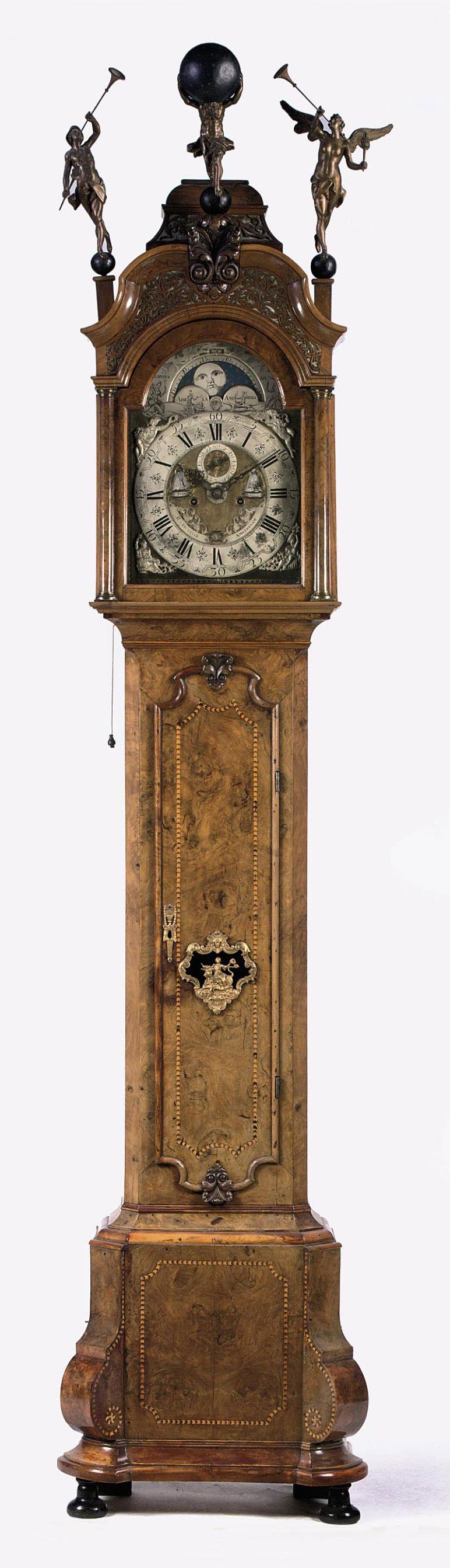 A DUTCH WALNUT AND BURR-WALNUT LONGCASE CLOCK