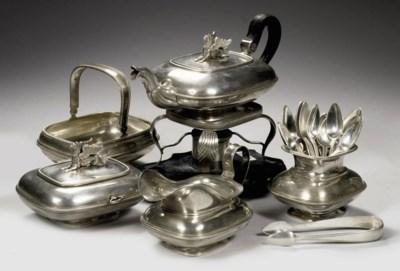 A Dutch silver five-piece tea-