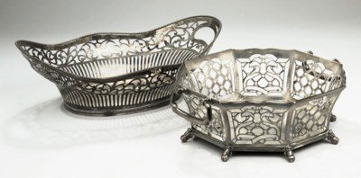 A Dutch silver bread-basket an