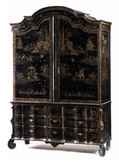 A DUTCH BLACK AND GILT JAPANNE