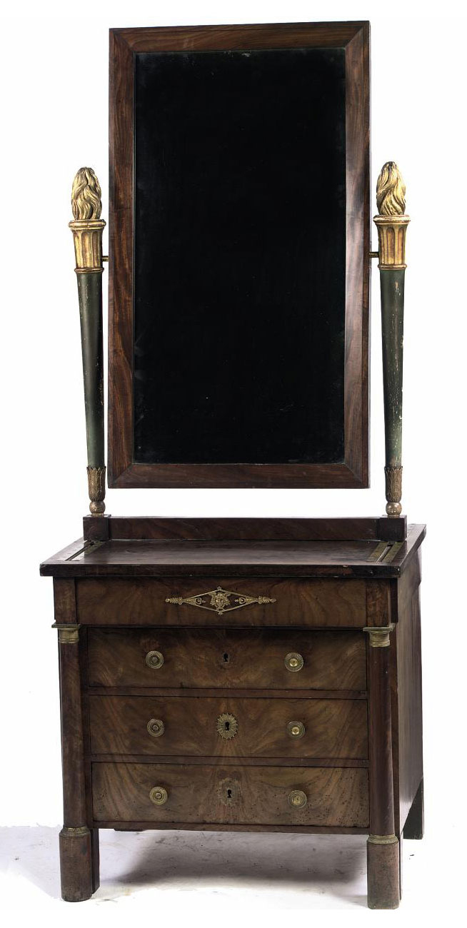 AN EMPIRE ORMOLU-MOUNTED MAHOGANY DRESSING COMMODE