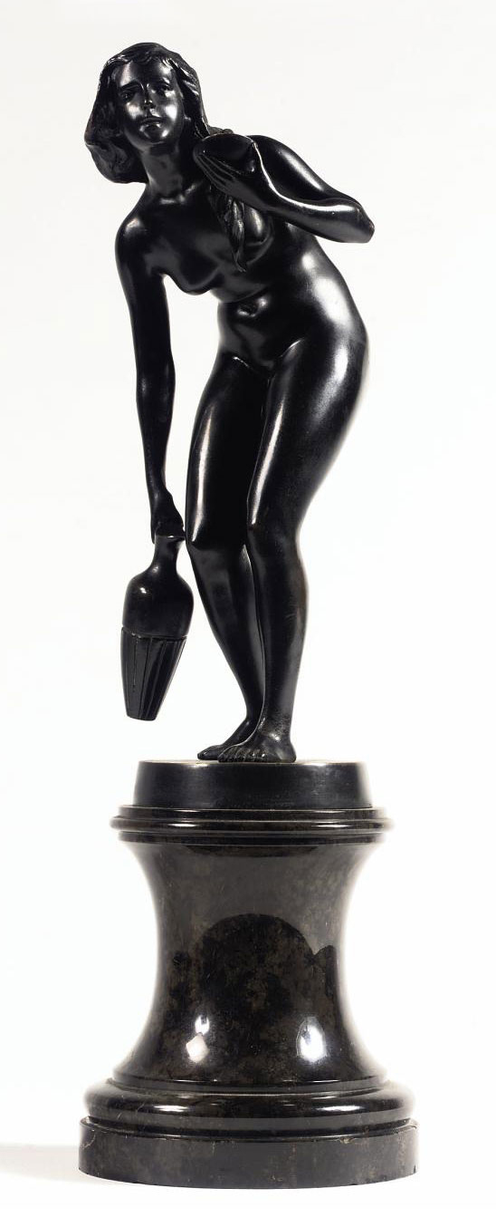 A BRONZE FIGURE OF A FEMALE NUDE, POSSIBLY THE NYMPH BYBLIS