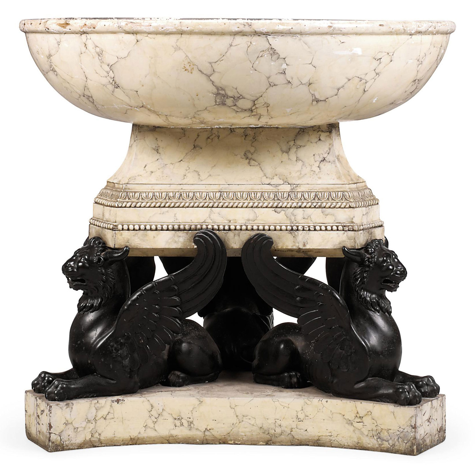 A REGENCY EBONISED AND SIMIULATED-MARBLE JARDINIERE