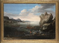 A coastal landscape with fishermen on the shore, a Genoese galley and other vessels and a hilltop fortress beyond