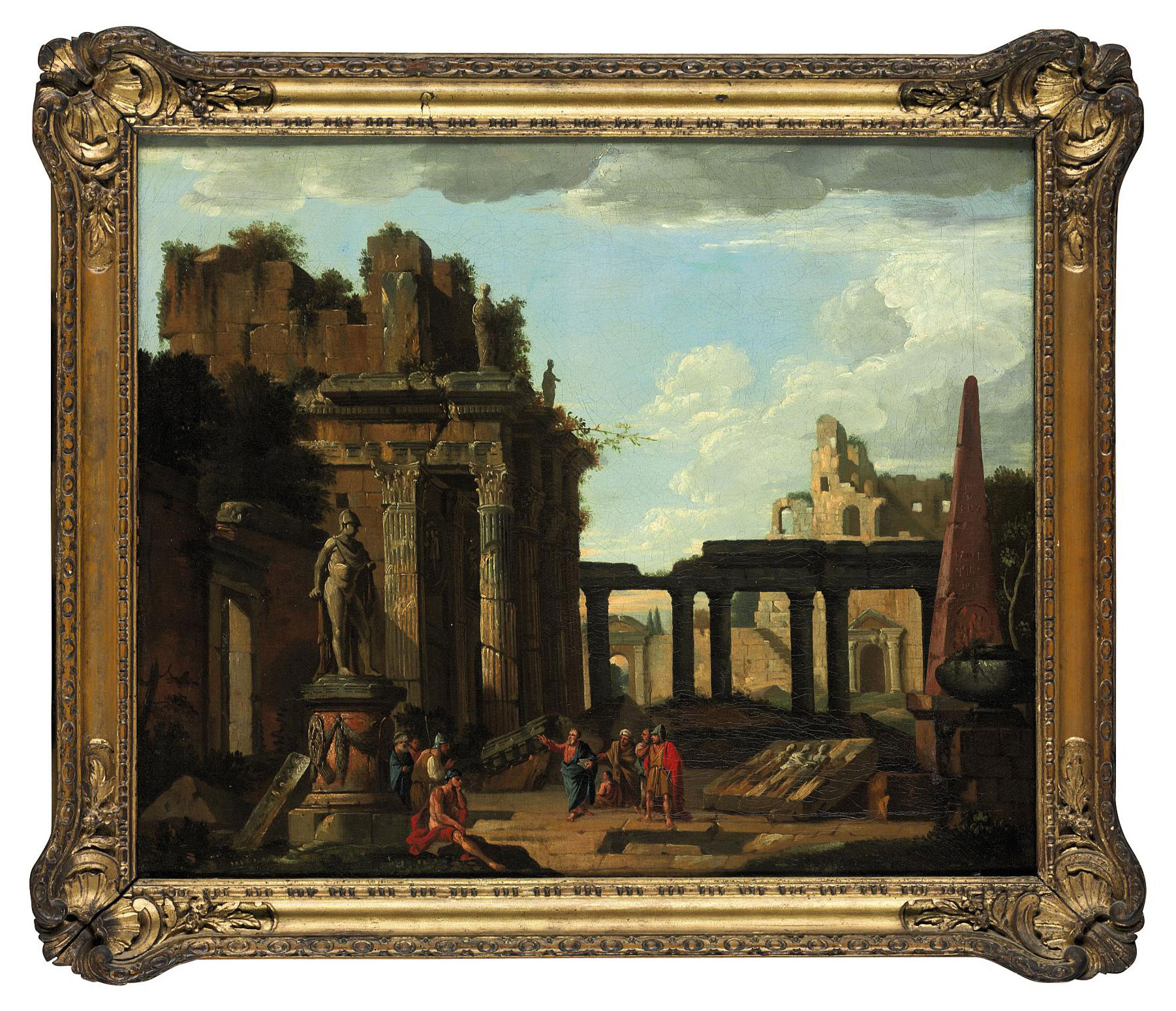 A capriccio of classical ruins with Saint Peter preaching