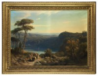 Wooded landscape with Lake Albano, with rural figures and a settlement beyond