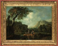An italianate river landscape with an angling party, mountains beyond