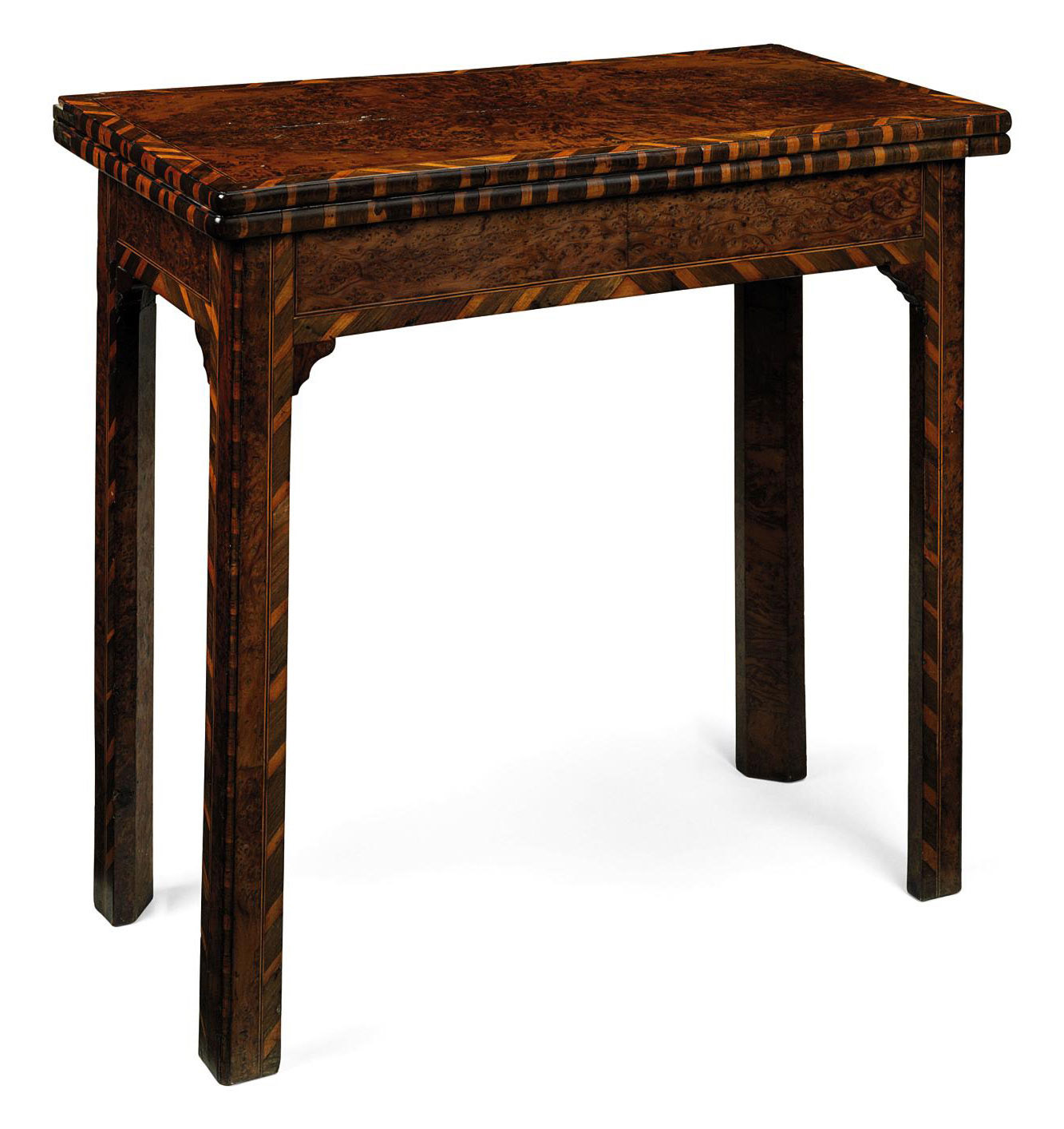 A GEORGE II BURR-YEWWOOD GATELEG-ACTION CARD TABLE